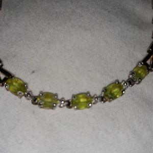 Vintage Sterling Silver Peridot Tennis Bracelet